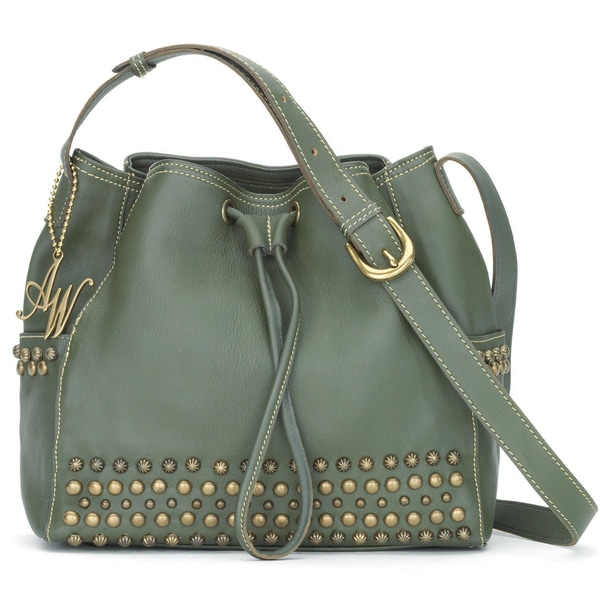 American West Olive Green Crossbody Bucket Bag