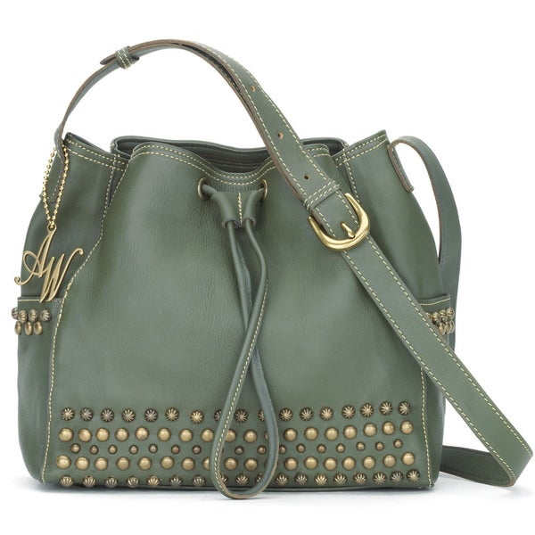 American West Olive Green Crossbody Bucket Bag