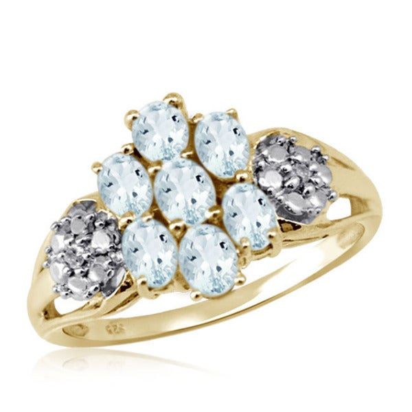 Oval-cut Aquamarine Gemstone Cluster and Accent White Diamond Ring
