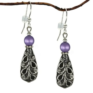 Jewelry by Dawn Antiqued Puffed Teardrop Purple Dangle Earrings