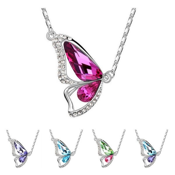 Princess Ice Platinum-plated Crystal Butterfly Pendant