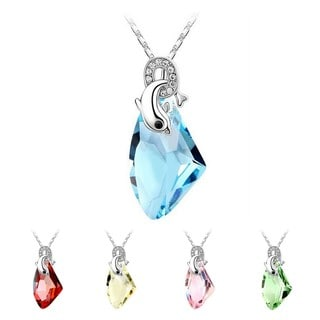 Princess Ice Platinum-plated Crystal Jumping Dolphin Pendant