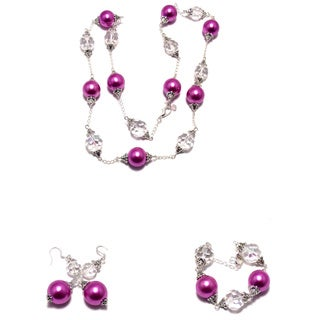 Pink Lucite Pearl and Clear AB Crystal Wedding Jewelry Set (Louisiana)