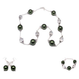 Green Lucite Pearl and Clear AB Crystal Strand, Bracelet and Earrings Set (Louisiana)