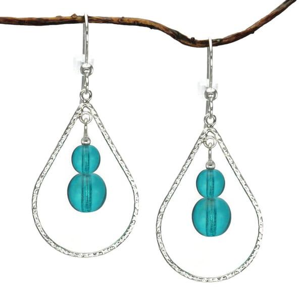 Jewelry by Dawn Turquoise Blue Sterling Silver Textured Teardrop Earrings