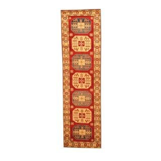 Herat Oriental Afghan Hand-knotted Tribal Kazak Red/ Ivory Wool Rug (2'8 x 9'11)