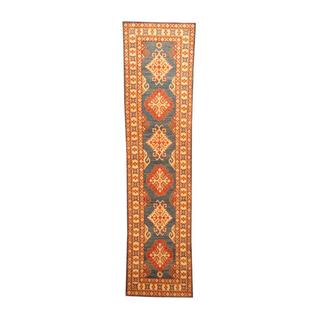 Herat Oriental Afghan Hand-knotted Tribal Kazak Blue/ Ivory Wool Rug (2'7 x 10'2)