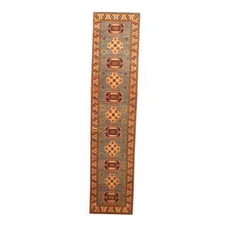 Herat Oriental Afghan Hand-knotted Tribal Kazak Light Blue/ Ivory Wool Rug (2'2 x 9'4)