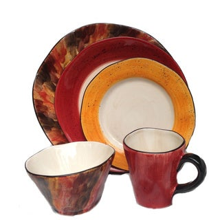 Red and Warm-tone Tortoise Shell Design 5-piece Serving Bundle (Italy)