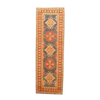 Herat Oriental Afghan Hand-knotted Tribal Kazak Light Blue/ Red Wool Rug (2'9 x 8'4)