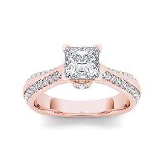De Couer 14k Rose Gold 1 3/4ct TDW Diamond Engagement Ring (H-I, I2)