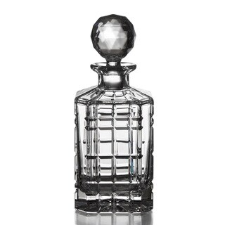 Fitz and Floyd Plaid Square Crystal Decanter