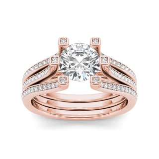 De Couer 14k Rose Gold 1 1/2ct TDW Diamond Ring (H-I, I1-I2)