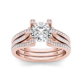 De Couer 14k Rose Gold 1 1/2ct TDW Diamond Ring (H-I, I1-I2) with Bonus Necklace
