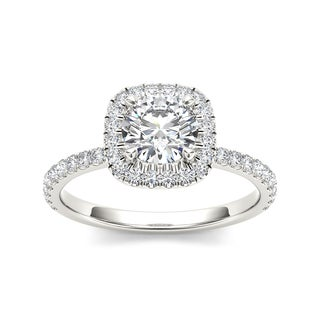 De Couer 14k White Gold 1 1/4ct TDW Diamond Halo Engagement Ring (H-I, I1-I2) with Bonus Necklace