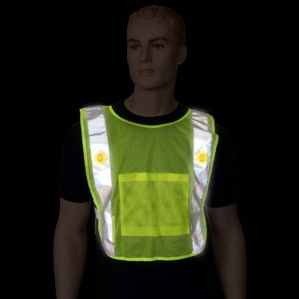 Neon Yellow LED Mesh Power Safety Vest