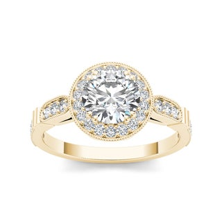 De Couer 14k Yellow Gold 1 1/4ct TDW White Diamond Engagement Ring (H-I, I1-I2)