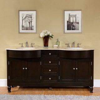 Silkroad Exclusive 72-inch Crema Marfil Marble Stone Top Bathroom Double Sink Vanity