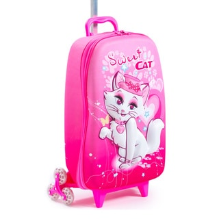 Maxi's Designs Children's 3D Sweet Cat 3-Wheel Carry On Rolling Upright Suitcase