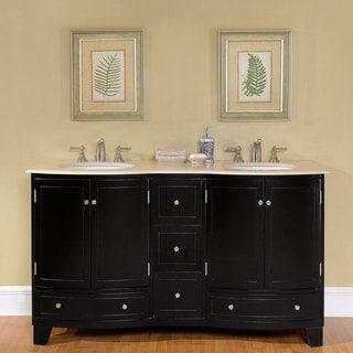 Silkroad Exclusive 60-inch Crema Marfil Marble Stone Top Bathroom Double Sink Vanity