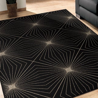 Da Vinci Illusion Black Polypropylene Rug ( 7'10 x 10'10)