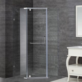 Aston 38 x 38 SEN973 Semi-Frameless Shower Enclosure in Stainless Steel