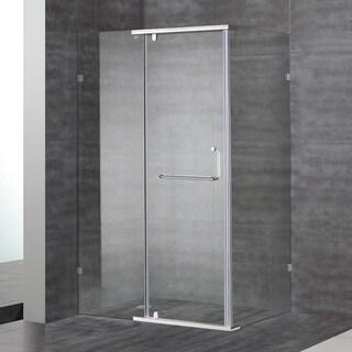 Aston 48-in x 35-in x 75-in Semi Frameless Rectangular Shower Enclosure in Stainless Steel
