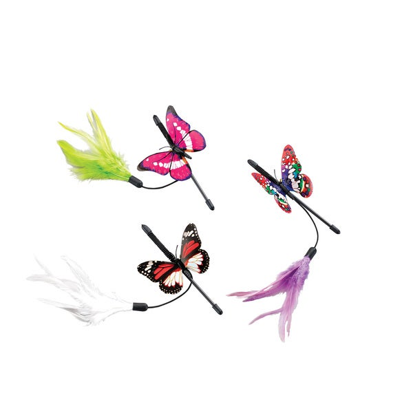 """Fluttery Butterfly Teaser Wand 8""""-Pink, Green Or White Feather"""