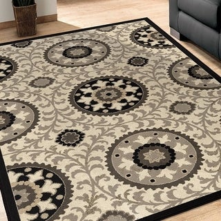 Da Vinci Meridian Taupe and Black Medallion Rug (7'10 x 10'10)