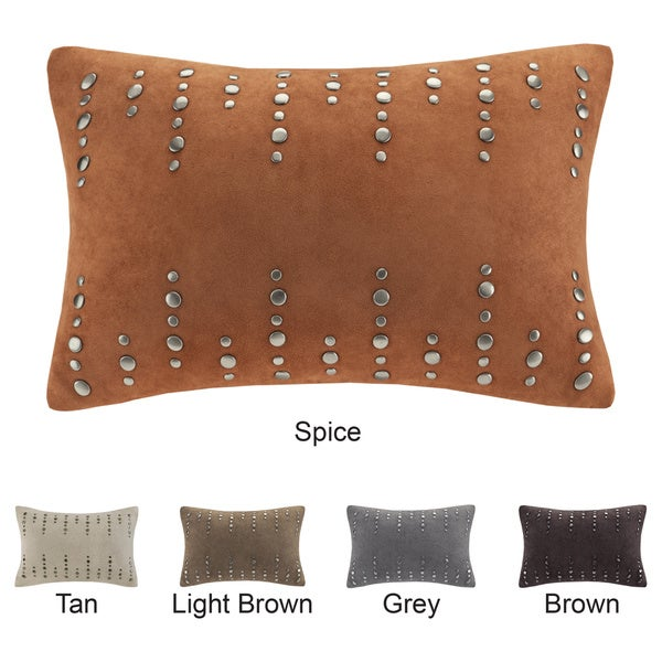 Madison Park Silver Stud Suede Feather Down Filled Oblong Pillow