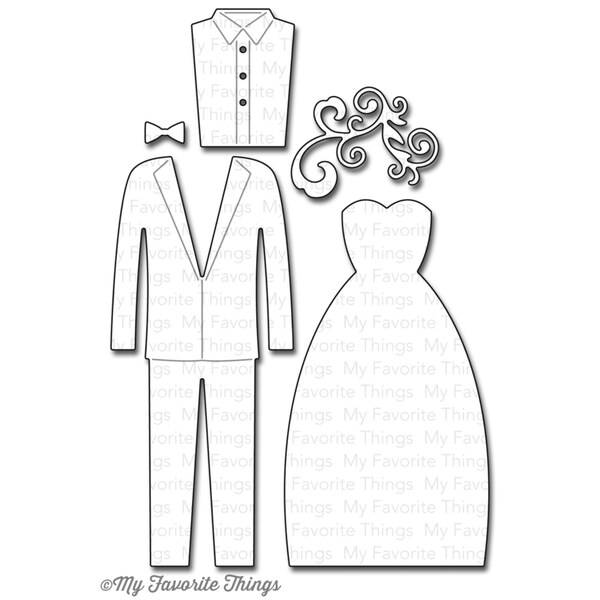 "Die-Namics Dies-Bride & Groom, 1""X.5"" To 4""X1.75"""