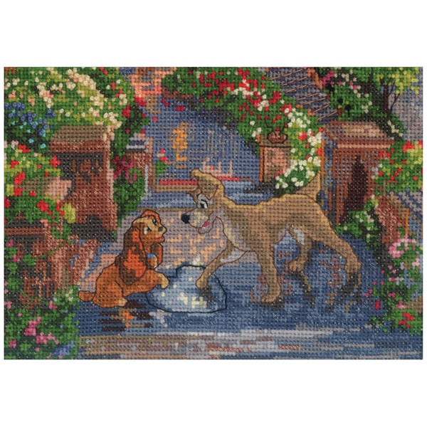 "Disney Dreams Collection By Thomas Kinkade Lady & The Tramp-7""X5"" 16 Count"