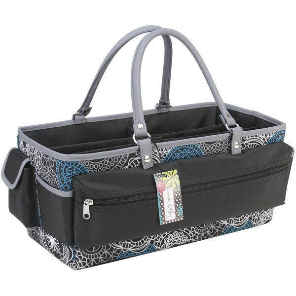 Mackinac Moon Open Top Extra Long Tote-Teal, White, Black
