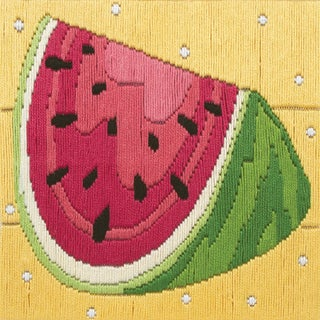 "Watermelon Starters Long Stitch Kit-6""X6"" Stitched In Cotton Floss"