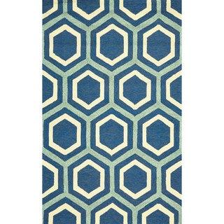 "Grand Bazaar Tufted Polypropylene Hareer Rug in Atlantic 7'-6"" x 9'-6"""