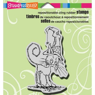 """Stampendous Halloween Cling Rubber Stamp 3.5""""X4"""" Sheet-Scraggly Cat"""