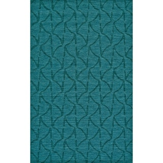 "Grand Bazaar Hand Woven 100-percent Wool Pile Crescent Rug in Teal 9'-6"" x 13'-6"""