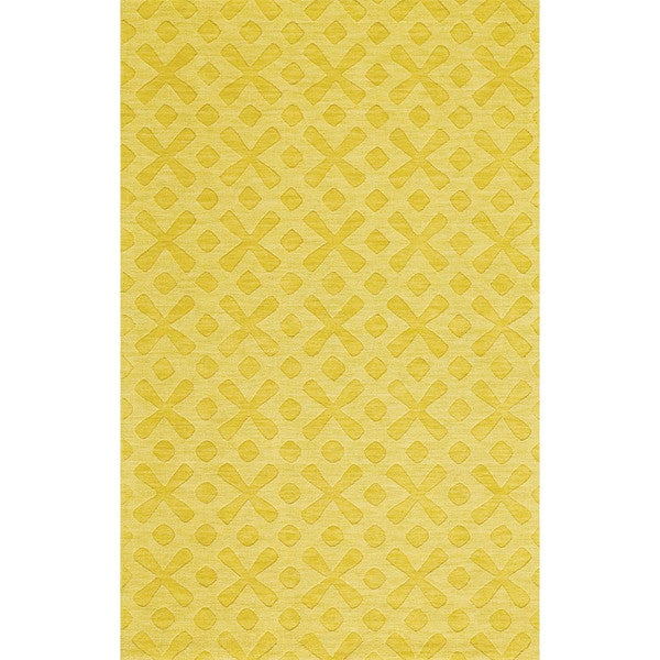 Grand Bazaar Hand Woven 100-percent Wool Pile Crescent Rug in Yellow 8' X 11'