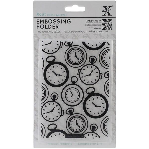 Xcut Universal A6 Embossing Folder-Pocket Watch Background