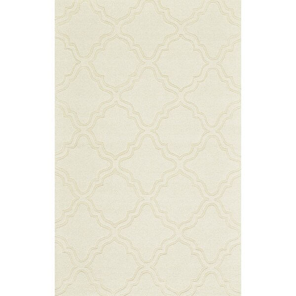 Grand Bazaar Hand Woven 100-percent Wool Pile Crescent Rug in Ivory 5' x 8'