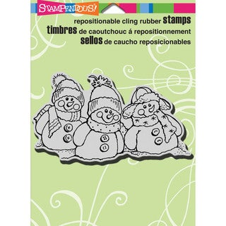 """Stampendous Christmas Cling Rubber Stamp 5.5""""X4.5"""" Sheet-Snowman Friends"""