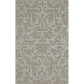 "Grand Bazaar Hand Woven 100-percent Wool Pile Crescent Rug in Light Gray 3'-6"" x 5'-6"""