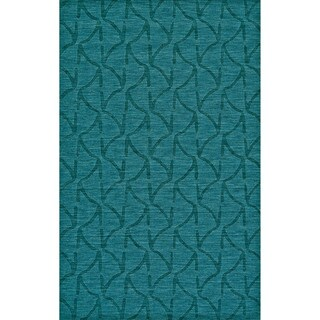 Grand Bazaar Hand Woven 100-percent Wool Pile Crescent Rug in Teal 5' x 8'