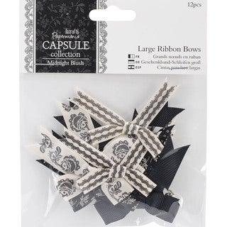 "Papermania Midnight Blush Large Ribbon Bows 12/Pkg-1.75"" To 2"""