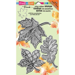 """Stampendous Halloween Cling Rubber Stamp 4""""X6"""" Sheet-Penpattern Leaves"""