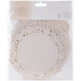 """Papermania Oyster Blush Die-Cut Lace Paper 5.5"""" 12/Pkg"""