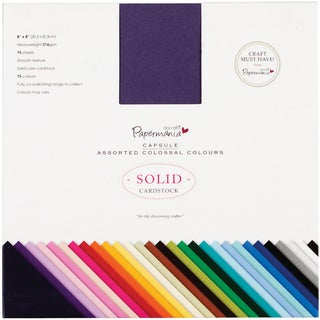 """Papermania Premium Smooth Solid Cardstock Pack 8""""X8"""" 75/Pkg-Colossal"""