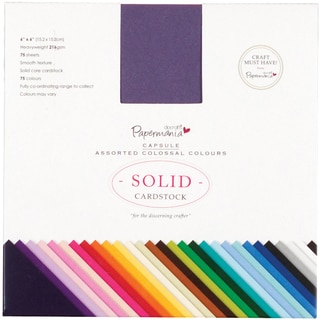 "Papermania Premium Smooth Solid Cardstock Pack 6""X6"" 75/Pkg-Colossal"