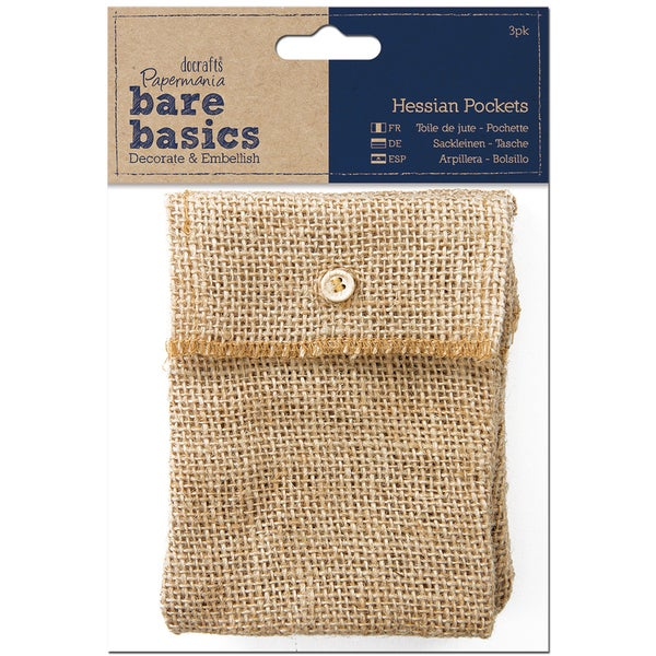 Papermania Bare Basics Hessian Pockets 3/Pkg