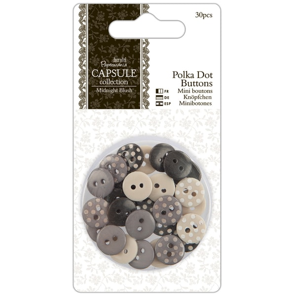 Papermania Midnight Blush Polka Dot Buttons 30/Pkg